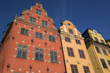 colorful buildings in stortorget located in