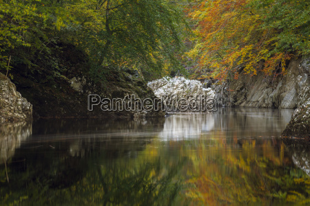 autumn colour reflected in the river