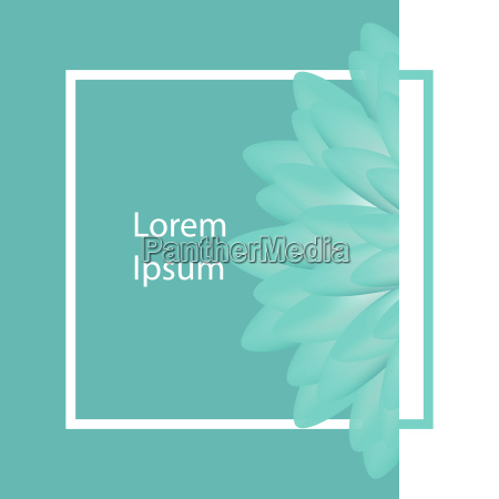 typographical background with flower square stroke