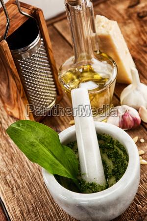 homemade wild garlic pesto with fresh
