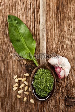 homemade wild garlic pesto on a