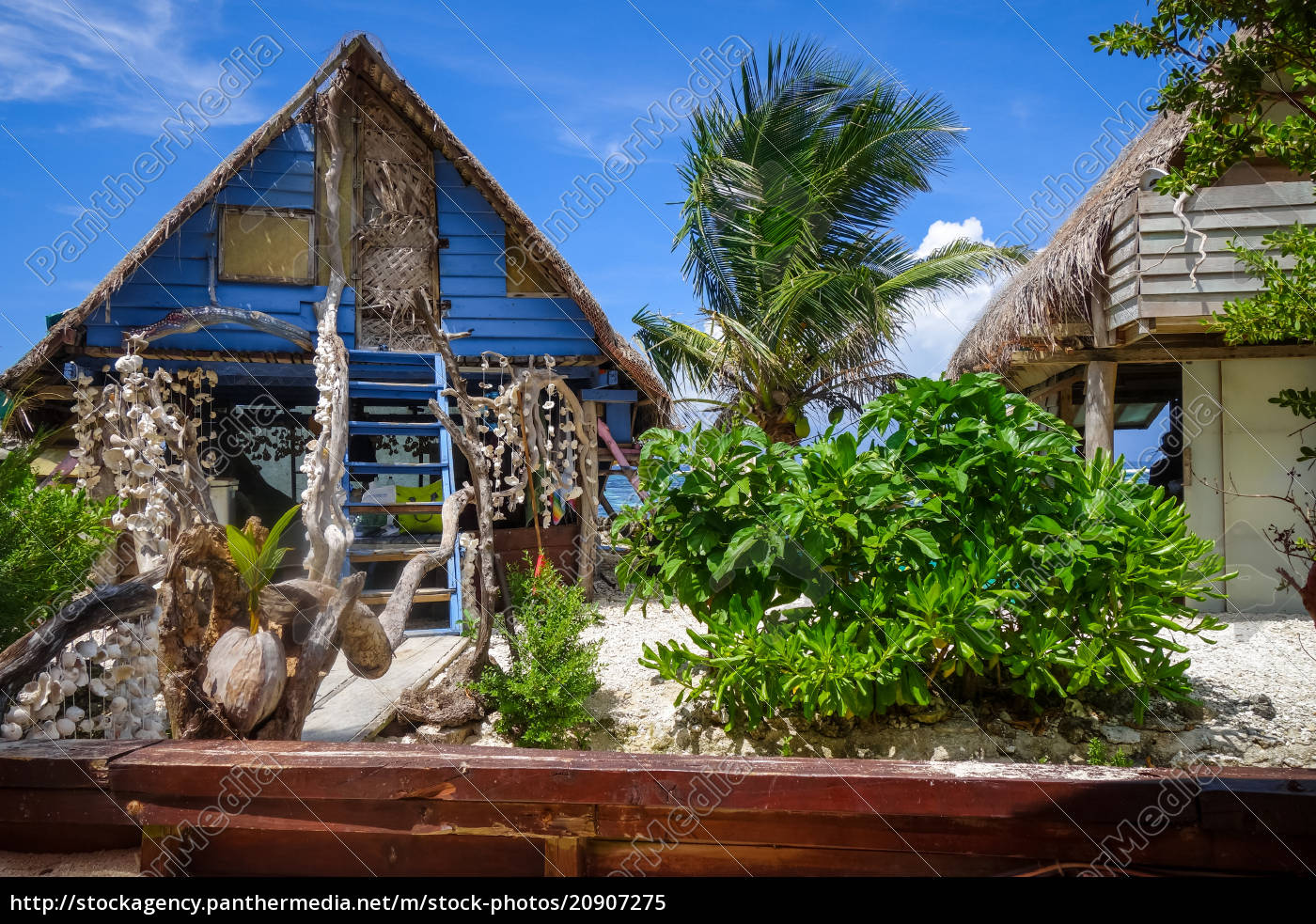 Stock Photo 20907275 Traditional Tropical Hut The Beach In Moorea Island
