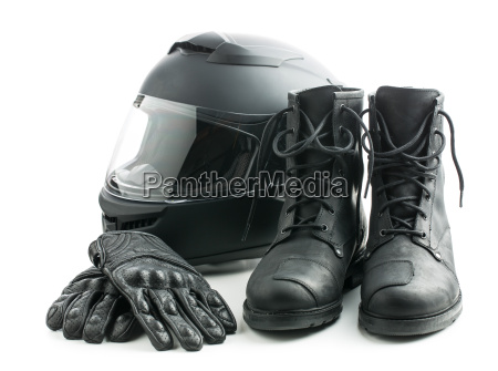 motorcycle helmet gloves and boots
