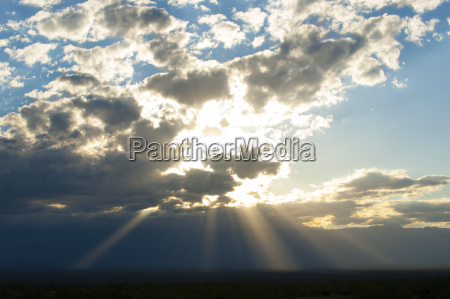 beams of sunlight shine down to