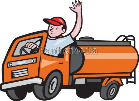 4 wheeler tanker truck driver waving