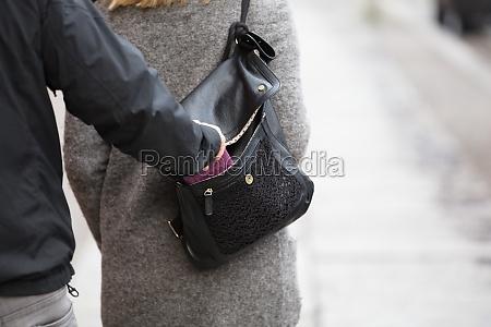 person, stealing, purse, from, handbag - 21039177