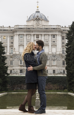 spain madrid couple kissing with the