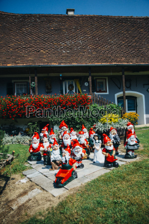 group of garden gnomes in front