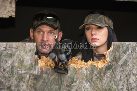 father and daughter at hunting trip