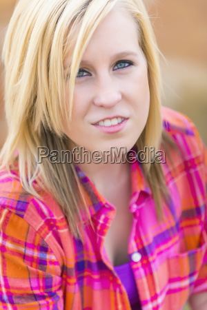 portrait of old caucasian teenage girl