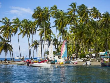 caribbean st lucia boats on beach