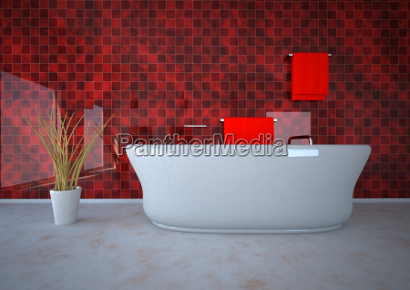 3d illustration of bathroom with potted