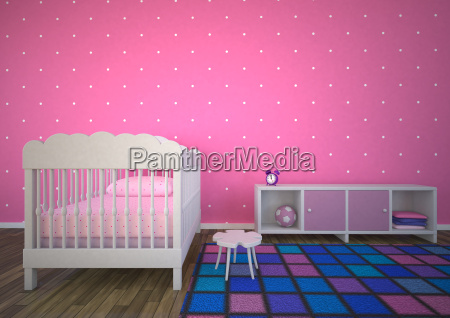 empty nursery room with pink background