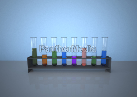 colourful test tubes in rack against