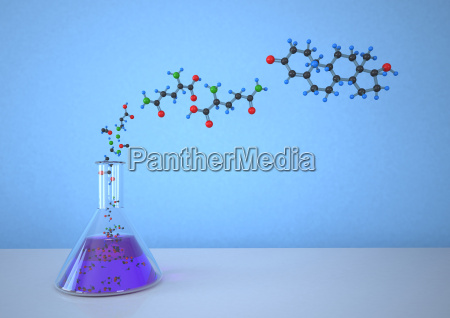 conical flask with molecular structure against