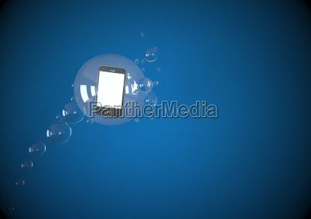 illustration of mobile floating in bubbles