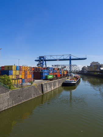 germany hesse frankfurt osthafen container harbour