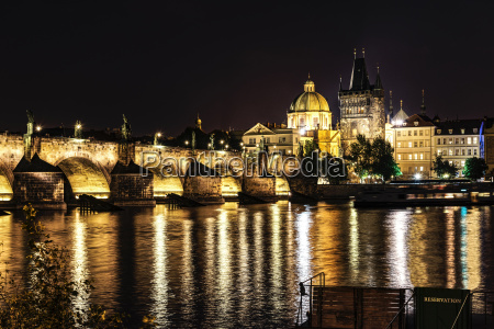 czechia prague view to lighted charles