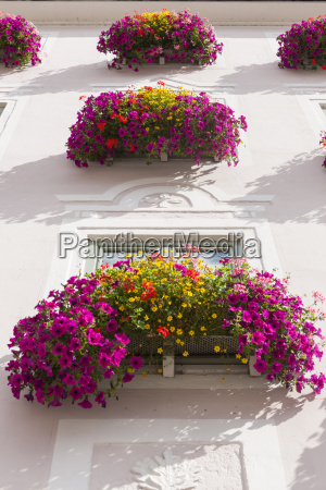 germany bavaria decorated window with flowers