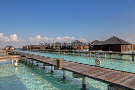 asia water bungalows of paradise island
