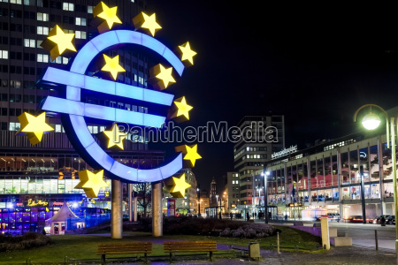 germany hesse frankfurt euro sign at