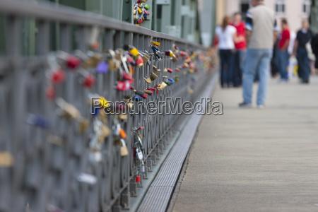 germany hesse frankfurt view of footbridge
