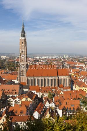 germany bavaria landshut cityscape with st