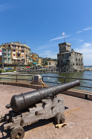 italy liguria rapallo cannon and castle
