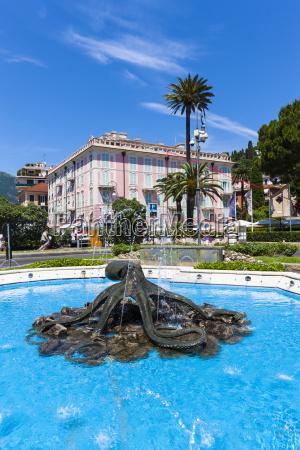 italy liguria rapallo mansion and fountain