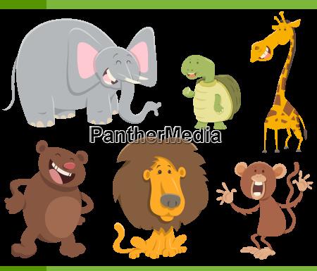 cute animals cartoon set illustration
