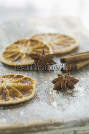 dried orange slices with star anises