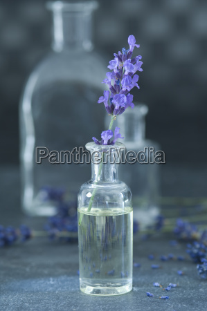 aromatic oil and twig of lavender
