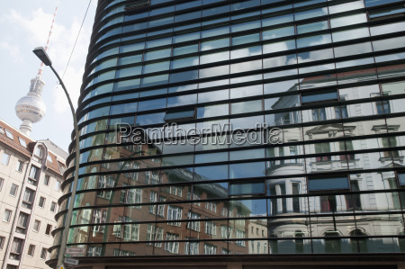 germany berlin glass facade and tv