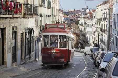 portugal lisboa mouraria electrico driving upwards