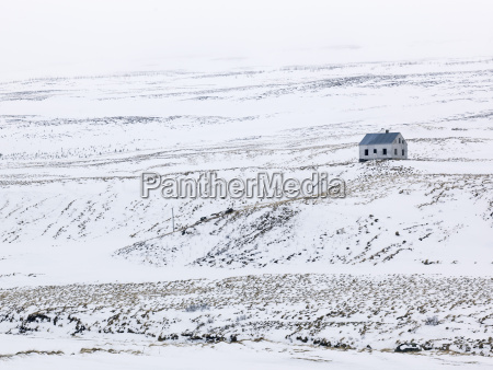 iceland view of lonely house in