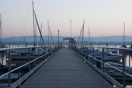 germany baden wuerttemberg jetty on lake