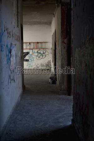 italy venice narrow alley with graffitis
