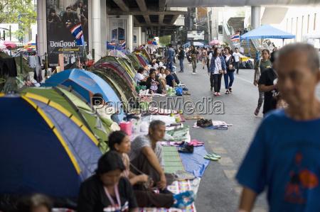 thailand bangkok protest camp at siam