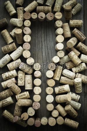 wine corks forming wine glass
