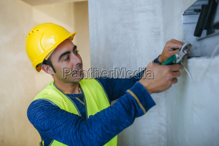 electrician working on conctruction site