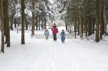 austria mother running with her childrens