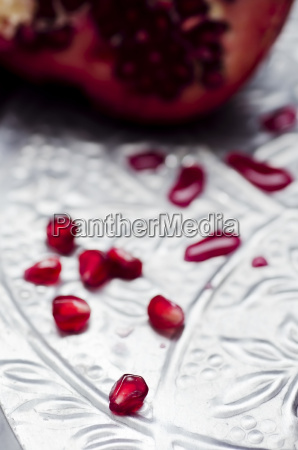 pomegranate punica granatum and pits on