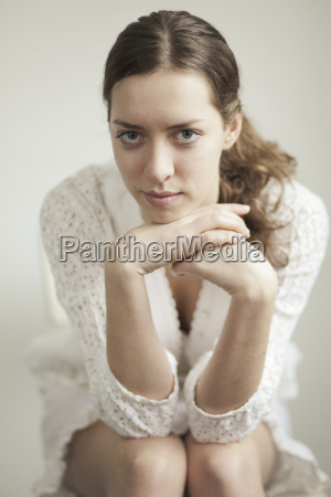 portrait of serious looking young woman