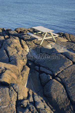 sweden varberg banch at rocky coastline