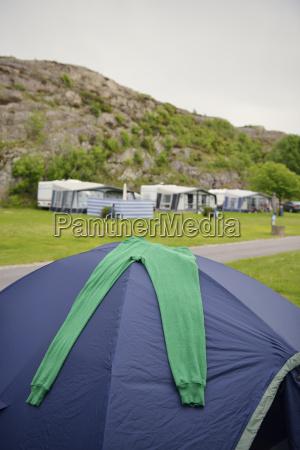 sweden kungshamn camping at rock face