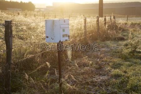 france burgundy mailbox in field near