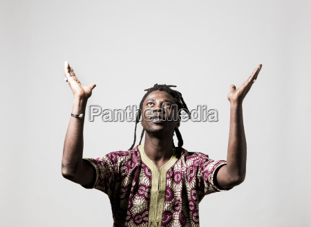 portrait of african dancer wearing traditional
