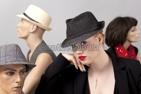 young woman with dummies