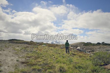 sweden vilhelmina man hiking at stekenjokk