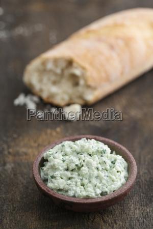 ricotta ramson cream and piece of